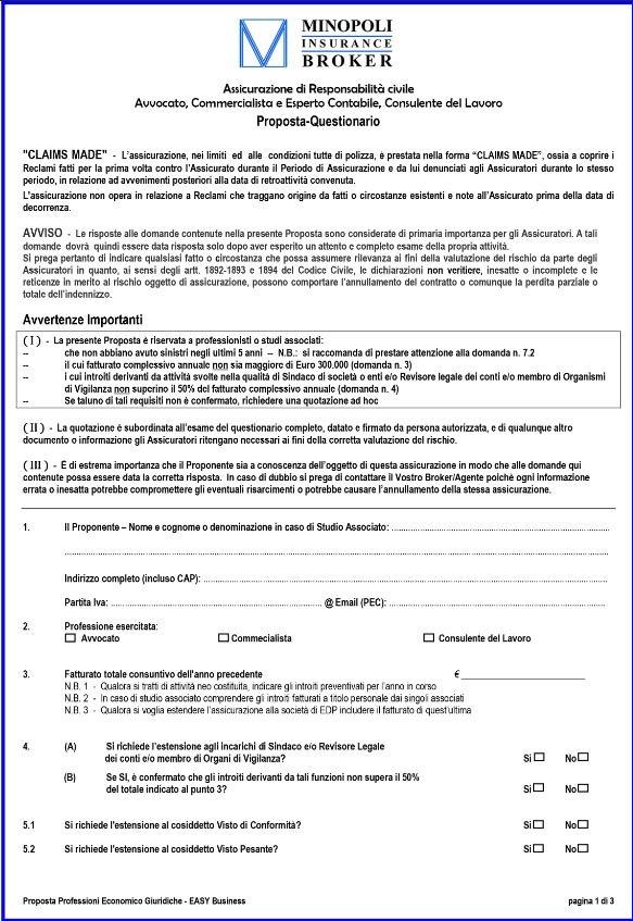 Questionario Avvocati, Commercialisti ed Esperti Contabili CNA