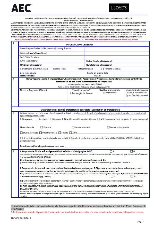 Questionario Unico Ingegneri, Architetti e Tecnici Lloyd's
