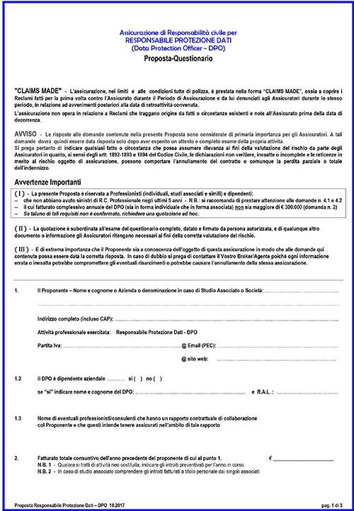 Questionario Assicurazione DPO (Data Protection Officer)
